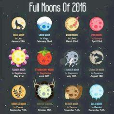 Full moons of 2016