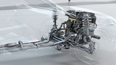 City car structure overview during driving. 3d illustration