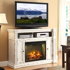 Distressed furniture TV Stand - Legends Furniture New Castle 58 Fireplace Media Center TV Stand Mantel in Distressed White. Media Fireplace, Fireplace Console, Fake Fireplace, White Fireplace, Fireplace Mantels, Tv Stand With Fireplace, Fireplace Ideas, Farmhouse Fireplace, Fireplace Wall