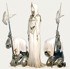 blonde hair character circlet cleric dress fantasy female guards halberd hooded human km kuro(artist) priestess Fantasy Images, Fantasy Rpg, Anime Fantasy, Dark Fantasy, Medieval Fantasy, Female Character Design, Character Design References, Character Concept, Character Art