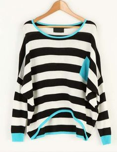 Striped Pocket Color Matching Bat Sleeve Sweater Black