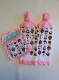 Cupcake Kitchen Set, Retro, Crochet, Hanging Towels, Pot Holders ...