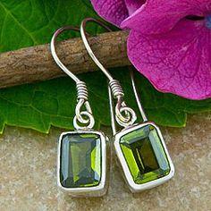 Sterling Silver Emerald-cut Peridot Earrings (Indonesia) | Overstock.com Shopping - Great Deals on Earrings