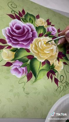 Painting Flowers Tutorial, Acrylic Painting Flowers, Lily Painting, One Stroke Painting, Floral Paintings, Fabric Painting, Diy Canvas Art, Flower Art, Watercolor Art