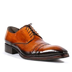 Jo Ghost Italian Mens Shoes Inglese Platon Brown Leather Oxfords (JG2112)