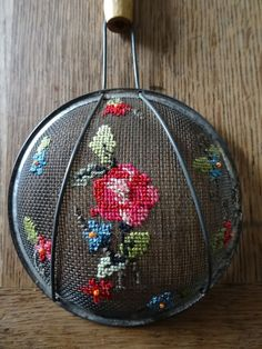 vintage flour sieve repurposed I ❤️ this! Vintage Embroidery, Ribbon Embroidery, Embroidery Art, Cross Stitch Embroidery, Cross Stitch Art, Cross Stitching, Cross Stitch Patterns, Embroidery Transfers, Needlepoint