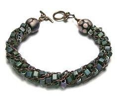 Eclectica Beads: Kumihimo Bracelet Square beads & chain....hmmmm