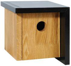 Nistkästen & Vogelhäuser - Design-Nistkasten Vogelhaus aus Holz Eiche schwarz - ein Designerstück von garten-liebe bei DaWanda