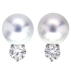 South Sea Pearl Earrings with Diamonds | From a unique collection of vintage stud earrings at https://www.1stdibs.com/jewelry/earrings/stud-earrings/