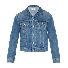 Acne Studios Who denim jacket (€260) ❤ liked on Polyvore featuring men's fashion, men's clothing, men's outerwear, men's jackets, blue, mens slim jacket, mens slim fit denim jacket, mens brown denim jacket, mens blue jean jackets and mens denim jacket