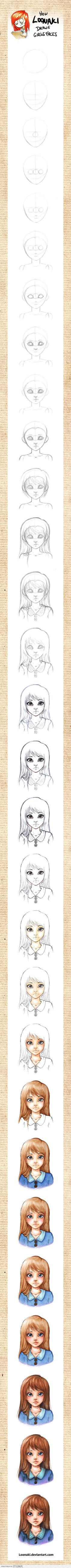 How to draw a girl's face.