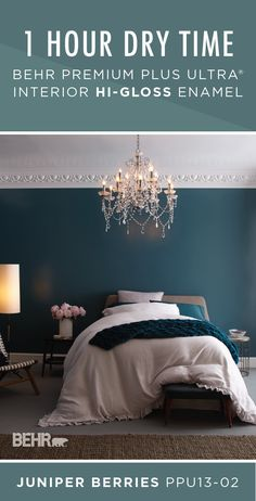 Protect the high-use interior surfaces of your home against damage caused by moisture, stains, and scuffs with BEHR Premium Plus Ultra Interior Hi-Gloss Enamel in Juniper Berries. This dark blue-green paint color is complete with a durable, glass-like finish. Click here to learn more.