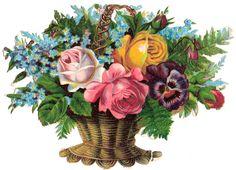 Glanzbilder - Victorian Die Cut - Victorian Scrap - Tube Victorienne - Glansbilleder - Plaatjes : Blumenkorb - flower basket - paniers de fleurs