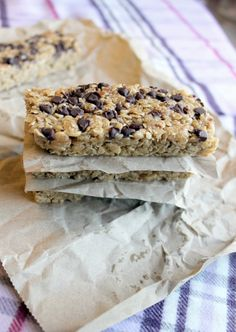 PB Chocolate Chip Chewy Granola Bars! I made these. THEY ARE AMAZING! :D cut into 10 bars 1 serving = 216 cals. 29 g. carbs, 10 g. fat (mostly from peanut butter), and 4 g. protein!