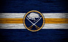 Download wallpapers Buffalo Sabres, 4k, NHL, hockey club, Eastern Conference, USA, logo, wooden texture, hockey, Atlantic Division