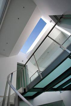 Glass balustrade in sandblasted glass