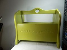 Vintage Wooden Magazine Rack Upcycled light green