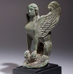 Late Archaic Greek Bronze Seated Sphinx (500 BC - 475 BC)