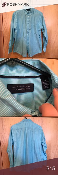Men's button down - turquoise Long sleeved button down, with turquoise and white stripes. Never worn and comes from smoke free home! Size medium. Roundtree & Yorke Shirts Dress Shirts