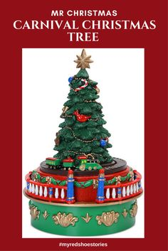 mr christmas mini carnival christmas tree with train music box affiliate bring the joy of your favorite ride into your home or office without taking loads - Mr Christmas Tree