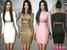 The Sims Resource: 282 - Kim Kardashian Dress by sims2fanbg • Sims 4 Downloads