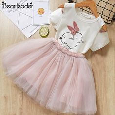 Girls Dresses 2019 New lovely girls white tee shirt and pink dress with rhinestone clothes set kids autumn children clothing set. Toddler Girl Dresses, Girls Dresses, Flower Girl Dresses, Toddler Girls, Party Dresses, Baby Girls, Kids Girls, Girls White T Shirt, Dress Outfits