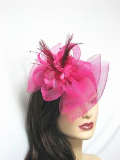 Pink Hair Fascinator Hat Bow Shape