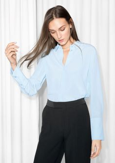 & Other Stories Wide Cuff Silk Shirt in Light Blue