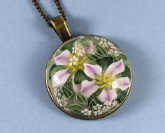 Polymer Clay Pendant, Polymer Clay Crafts, Flower Pendant, Pendant Necklace, Clay Ideas, Flowers, Handmade, Etsy, Jewelry