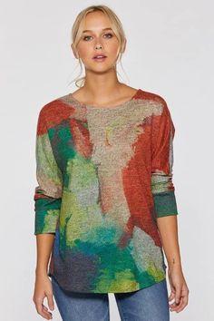 Summer Minute Soft Touch Dolman Sleeve Top by Claire Desjardins. #clairedesjardins #clairedesjardinsart #ClaireDesjardinsApparel #DesignerJacket #JeanJacket #cami #WomensApparel #WearableArt #designerclothing #apparel #designerapparel #artandfashion #fashionandclothing #artonclothing #abstractart #abstractpainting #designerclothes #womensapparel #Tunic #Dress #Jacket #MotoJacket #WomensTop #Scarf #Dress #Blouse