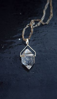 HERKIMER DIAMOND NECKLACE. Clear quartz crystal necklace. Sterling silver chain and setting. Double terminated. Geometric gemstone