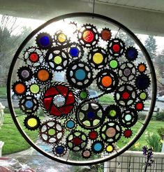 Stained Glass Recycled Bicycle Wheel