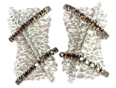 Previously Owned 18k White Gold Chocolate Diamond Modernist Pierced Earrings