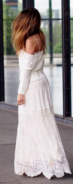 Floor Length Lace Skirt Styling