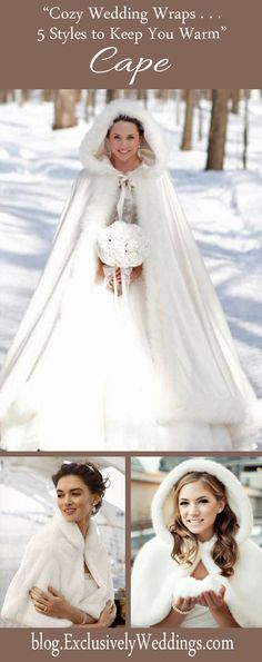 Cozy Wedding Wraps - 5 Styles to Keep You Warm - Cape - Read more: http://blog.exclusivelyweddings.com/2014/10/12/cozy-wedding-wraps-5-stylish-choices-to-keep-you-warm/