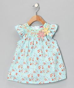 Take a look at this Blue & Orange Flower Smocked Dress - Infant, Toddler & Girls by Maggie Peggy on #zulily today!
