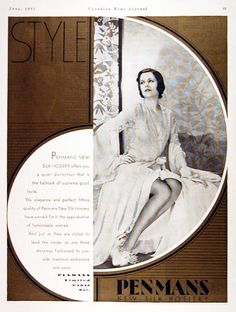 1931 Penmans Silk Hosiery original vintage advertisement. Offers you a quiet distinction that is the hallmark of supreme good taste. Elegance and perfect fitting quality have earned Penmans the approbation of fashionable women.