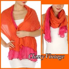 Bright orange and pink scarf. 2 n 1 scarf NWT This is a very interesting item. They have burnished ends  that are little metal balls. These are 2in1 fashion. It is two scarfs sewn together at sides to make one scarf. This scarf is pink and orange. 2in1 Accessories Scarves & Wraps