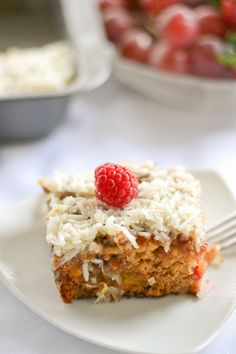 Fruit Cocktail Cake - topped off with a crunchy and sweet coconut walnut topping. This is a perfect dessert recipe. Easy and delicious!