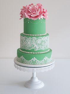 Green Wedding Cake by cococakes.deviantart.com on @deviantART