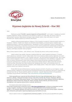 Kiwi 360 - wyprawa do Nowej Zelandii - notka prasowa 29 października by Maciej Adamczak via slideshare