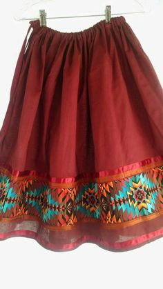 Custom order in your size and length. Dress Shirt And Tie, T Dress, Ribbon Skirts, Red Skirts, Applique Skirt, Conservative Outfits, Powwow Regalia, Native American Fashion, Native Fashion