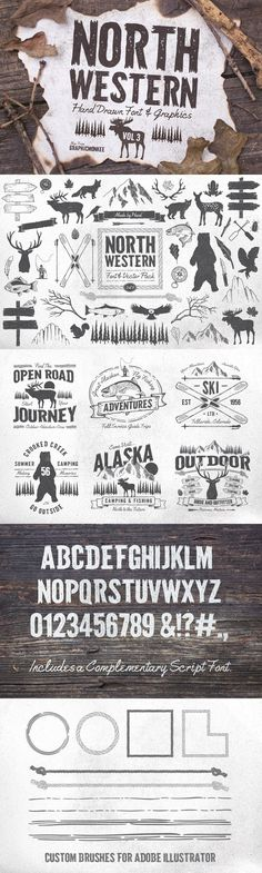 North Western Font + Vectors Vol 3. Fonts. $18.00