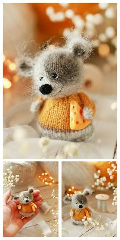 Educational and interesting ideas about amigurumi, crochet tutorials are here. Crochet Mouse, Crochet Bear, Crochet Animals, Free Crochet, Animal Knitting Patterns, Crochet Toys Patterns, Stuffed Animal Patterns, Knitted Dolls, Crochet Dolls