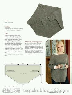 Gestrickter Poncho - - - pattern - - - - - - Love of Knitting Fall Diy Clothing, Sewing Clothes, Crochet Clothes, Knitting Patterns, Sewing Patterns, Loom Knitting, Fall Knitting, Knitting Machine, Pulls