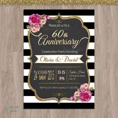 D0061 Welcome to my shop! FOR MY OTHER ANNIVERSARY INVITES https://www.etsy.com/shop/DamabDigital?ref=hdr_shop_menu&search_query=anniversary -- This listing is for a personalized image of 60th Anniversary invitation. It can be changed to any year (30th/40the/50th) (this is a digital file, no materials will be shipped). You can print as many as you need. SAME DESIGN WITH PHOTO https://www.etsy.com/listing/476428903/50th-ann...