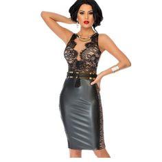 2016 Summer Plus Size Empire Knee-length Women Dresses Bodycon Dress With Lace Nude Illusion Top Lc60843 Vestido De Las Mujeres