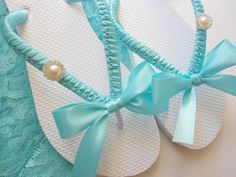 Tiffany Blue wedding shoes, Tiffany blue flip flops, decorated flip flops, maid of honor gift, rhinestone flip flops - bridal shoes. $38.00, via Etsy. #flipflopswedding
