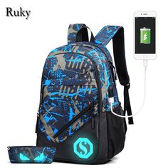 c1f8c79f87e New Design USB Charging Men's Backpacks Male Casual Travel Luminous Mochila  Teenagers Women Student School Bags Laptop Backpack-in Backpacks from  Luggage ...