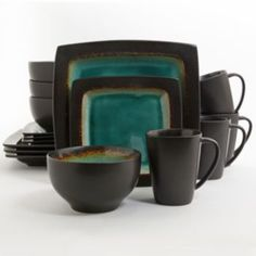 Gibson Ocean Paradise Jade Set, Service for 4 - Casual Dinnerware - Dining & Entertaining - Macy's Dinnerware Sets Walmart, Casual Dinnerware Sets, Stoneware Dinnerware Sets, Square Dinnerware Set, Tableware, Farmhouse Dinnerware, Gibson Dinnerware, Turquoise, Teal